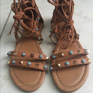 NWOB Brown Embellished Gladiator Sandals